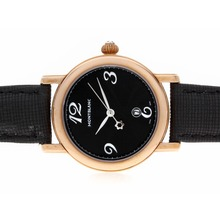 Replik Montblanc Star Rose Gold Case Black Dial with Leather Strap-Lady Size – Attractive Montblanc Star Watch for You 35748