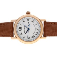 Replik Montblanc Star Rose Gold Case White Dial with Leather Strap-Lady Size – Attractive Montblanc Star Watch for You 35747