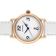 Replik Montblanc Star Rose Gold Case Whtie Dial with Leather Strap-Lady Size – Attractive Montblanc Star Watch for You 35746