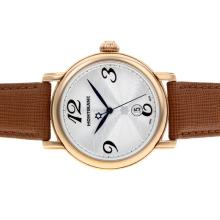Replik Montblanc Star Rose Gold Case Silver Dial with Leather Strap-Sapphire Glass – Attractive Montblanc Star Watch for You 35743