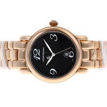 Replik Montblanc Star Full Rose Gold with Black Dial-Lady Size – Attractive Montblanc Star Watch for You 35736