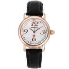 Replik Montblanc Star Rose Gold Case Number Markers White Dial with Leather Strap-Lady Size – Attractive Montblanc Star Watch for You 35695