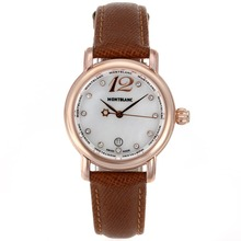 Replik Montblanc Star Rose Gold Case Diamond Markers Mop Dial with Leather Strap-Lady Size – Attractive Montblanc Star Watch for You 35694