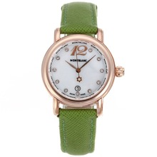 Replik Montblanc Star Rose Gold Case Diamond Markers MOP Dial with Green Leather Strap-Lady Size – Attractive Montblanc Star Watch for You 35691
