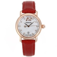 Replik Montblanc Star Rose Gold Case Diamond Markers MOP Dial with Red Leather Strap-Lady Size – Attractive Montblanc Star Watch for You 35689