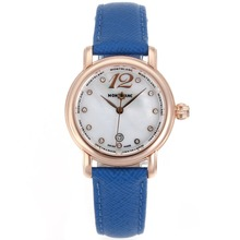 Replik Montblanc Star Rose Gold Case Diamond Markers MOP Dial with Blue Leather Strap-Lady Size – Attractive Montblanc Star Watch for You 35688
