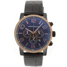 Replique Montblanc Time Walker travail Chronographe PVD affaire Diamond Bezel avec cadran noir-bracelet en cuir - Attractive Montblanc Time Walker montre pour vous 35683