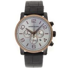 Replique Montblanc Time Walker travail Chronographe PVD affaire Diamond Bezel avec cadran argenté-bracelet en cuir - Attractive Montblanc Time Walker montre pour vous 35682