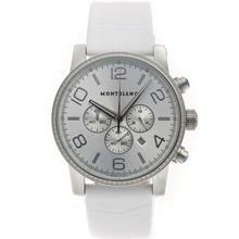 Replique Montblanc Time Walker-Chronographe Diamond Bezel avec cadran argenté-bracelet en cuir - Attractive Montblanc Time Walker montre pour vous 35680