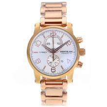 Replique Flyback Montblanc Chronograph de travail complet en or rose avec cadran blanc - Attractive Regarder Flyback Montblanc pour vous 35678