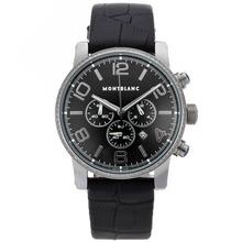 Replique Montblanc Time Walker-Chronographe Diamond Bezel avec cadran noir-bracelet en cuir - Attractive Montblanc Time Walker montre pour vous 35671