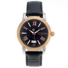 Replique Montblanc Star Deux cas Tone avec cadran noir-bracelet en cuir - Attractive Montblanc Star Montre pour vous 35654