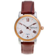 Replique Montblanc Star Deux cas Tone avec cadran blanc-bracelet en cuir - Attractive Montblanc Star Montre pour vous 35653