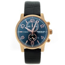 Replik Montblanc Flyback Working Chronograph Rose Gold Case with Black Dial-Leather Strap – Attractive Montblanc Flyback Watch for You 35648