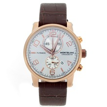 Replik Montblanc Flyback Working Chronograph Rose Gold Case with Silver Dial-Leather Strap – Attractive Montblanc Flyback Watch for You 35647
