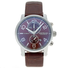 Replik Montblanc Flyback Working Chronograph with Brown Dial-Leather Strap – Attractive Montblanc Flyback Watch for You 35645