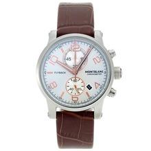 Replique Chronographe Flyback Montblanc travail avec cadran blanc-bracelet en cuir - Attractive Regarder Flyback Montblanc pour vous 35644