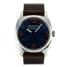 Replique Panerai Radiomir Unitas 6497 Mouvement col de cygne marqueurs orange avec cadran bleu-bracelet en cuir - Belle Panerai Radiomir Montre pour vous 31068