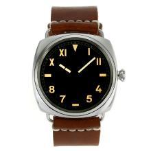 Replique Panerai Radiomir Unitas 6497 Mouvement Swan Neck Roman / Marqueurs Nombre de Black Dial-bracelet en cuir - Attractive Panerai Radiomir Montre pour vous 31067
