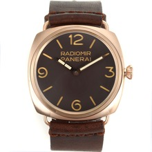 Replique Panerai Radiomir Unitas 6497 Mouvement Swan Neck boîtier en or rose avec cadran brun-bracelet en cuir - Attractive Panerai Radiomir Montre pour vous 31062