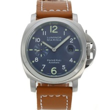 Replique Panerai Luminor Marina Automatic avec bracelet en cuir bleu Cadran-Brown - Attractive Panerai Luminor Marina Montre pour vous 31036