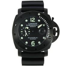Replique Panerai Luminor Submersible Montre Automatique PVD affaire avec style fibre de carbone cadran noir-même châssis que la version ETA - Attractive Panerai Luminor Submersible Montre pour vous 31030
