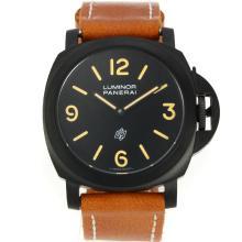 Replique Panerai Luminor Logo OP suisse Valjoux 7750 Mouvement PVD affaire avec bracelet en cuir cadran noir-brun - Attractive Panerai Luminor Marina Montre pour vous 31028