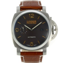 Replique Panerai Luminor automatique avec bracelet en cuir brun Dial-Brown - Attractive Panerai Luminor Marina Montre pour vous 31021