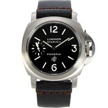 Replique Panerai Luminor Marina Logo OP Unitas 6497 Mouvement Boîtier Titane Swan Neck avec cadran noir-bracelet en cuir - Attractive Panerai Luminor Marina Montre pour vous 31018