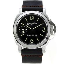 Replique Panerai Luminor Marina Unitas 6497 Mouvement Swan Neck avec bracelet en cuir noir Cadran Noir-- Attractive Panerai Luminor Marina Montre pour vous 31016