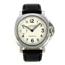 Replique Panerai Luminor Marina suisse ETA Unitas 6497 Mouvement avec bracelet en cuir blanc Cadran Noir-- Attractive Panerai Luminor Marina Montre pour vous 31004
