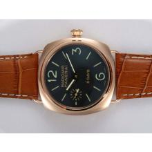 Replik Panerai Radiomir 8 Days Unitas 6497 Movement Manual Winding Rose Gold Case with Black Dial – Attractive Panerai Radiomir Watch for You 31652