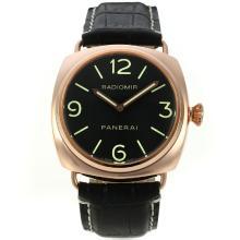 Replique Automatique Panerai Radiomir en or rose avec cadran noir-bracelet en cuir - Attractive Panerai Radiomir Montre pour vous 30971
