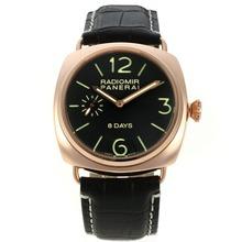 Replique Panerai Radiomir 8 jours automatiques boîtier en or rose avec cadran noir-bracelet en cuir - Attractive Panerai Radiomir Montre pour vous 30970