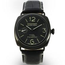 Replique Panerai Radiomir Black Seal Automatique PVD affaire avec cadran noir-bracelet en cuir - Attractive Panerai Radiomir Montre pour vous 30968