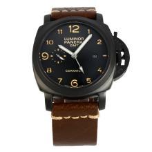 Replique Panerai Luminor GMT Montre Automatique PVD affaire avec bracelet en cuir cadran noir-café - Attractive Panerai Power Reserve / GMT Regarder pour vous 30962