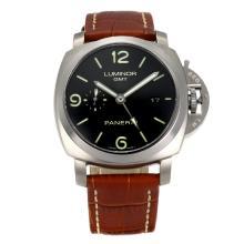 Replique Panerai Luminor Marina suisse Chronographe Valjoux 7750 Mouvement avec cadran noir bracelet en cuir-Brown - Attractive Panerai Luminor Marina Montre pour vous 30955