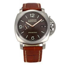 Replique Panerai Luminor Marina Chronograph Valjoux 7750 Mouvement suisse avec bracelet en cuir brun café Dial-- Attractive Panerai Luminor Marina Montre pour vous 30954