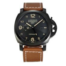 Replique Panerai Luminor GMT Montre Automatique PVD affaire avec bracelet en cuir cadran noir-café - Attractive Panerai Luminor Marina Montre pour vous 30927