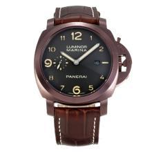 Replique Panerai Luminor Marina Automatic boîtier en or café avec cadran noir-bracelet en cuir brun foncé - Attractive Panerai Luminor Marina Montre pour vous 30922