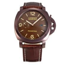 Replique Panerai Luminor Marina Automatic GMT boîtier en or Café avec Dial-bracelet en cuir brun foncé - Attractive Panerai Luminor Marina Montre pour vous 30920