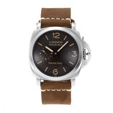 Replique Panerai Luminor automatique avec bracelet en cuir noir Cadran-Camel - Attractive Panerai Luminor Marina Montre pour vous 30895