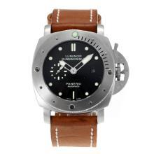 Replique Panerai Luminor Submersible automatique avec bracelet en cuir noir Cadran-Brown - Attractive Panerai Luminor Submersible Montre pour vous 30892