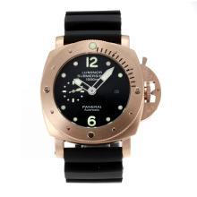 Replique Panerai Luminor Submersible automatique boîtier en or rose avec bracelet en caoutchouc noir Cadran Noir-- Attractive Panerai Luminor Submersible Montre pour vous 30890
