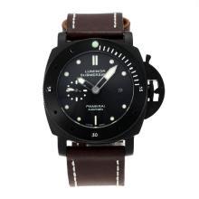 Replique Panerai Luminor Submersible Montre Automatique PVD affaire avec bracelet en cuir cadran noir-brun - Attractive Panerai Luminor Submersible Montre pour vous 30889
