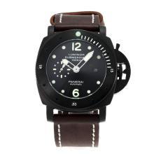 Replique Panerai Luminor Submersible Montre Automatique PVD affaire avec bracelet en cuir cadran noir-brun - Attractive Panerai Luminor Submersible Montre pour vous 30888