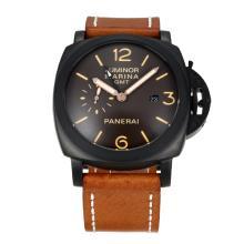 Replique Panerai Luminor Marina de travail GMT Automatique PVD affaire avec bracelet en cuir noir Dail-Brown - Attractive Panerai Luminor Marina Montre pour vous 30885