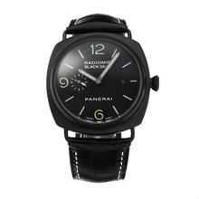 Replique Panerai Black Seal Raiomir Automatique PVD affaire avec cadran noir-bracelet en cuir - Attractive Panerai Radiomir Montre pour vous 30881