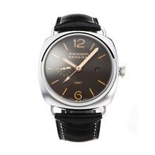 Replique Panerai GMT Raiomir de travail automatique avec bracelet en cuir brun Cadran Noir-- Attractive Panerai Radiomir Montre pour vous 30879