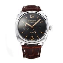 Replique Panerai GMT Raiomir de travail automatique avec bracelet en cuir cadran noir-brun - Attractive Panerai Radiomir Montre pour vous 30878